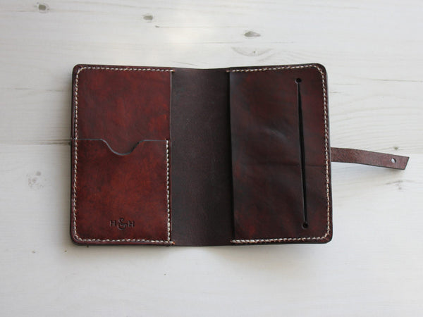 Leather Notebook Cover with Closure A6 - Brown - Hide & Home - 4