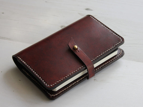 Leather Notebook Cover with Closure A6 - Brown - Hide & Home - 1