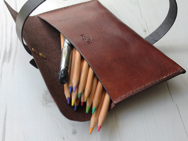 Leather Pencil Case - Brown - Hide & Home - 4