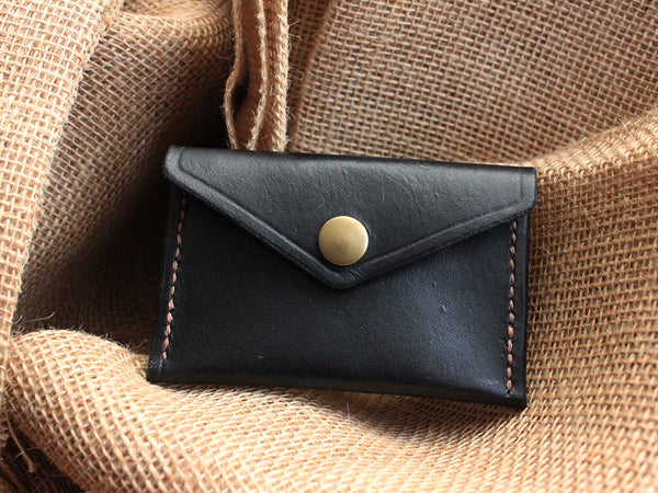 Slim Leather Button Wallet - Black - Hide & Home - 1