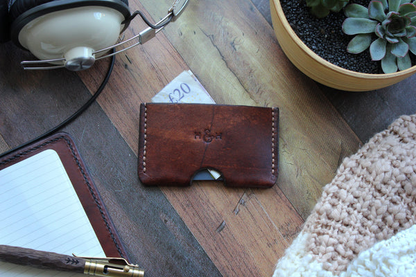 Slim Leather Card Holder - Brown