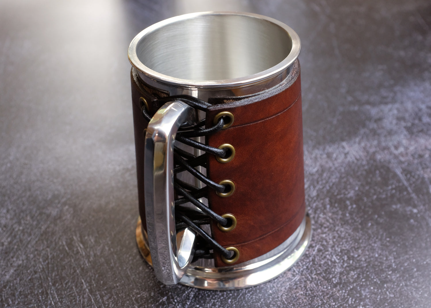Pewter Tankard with Classic Brown Leather Wrap