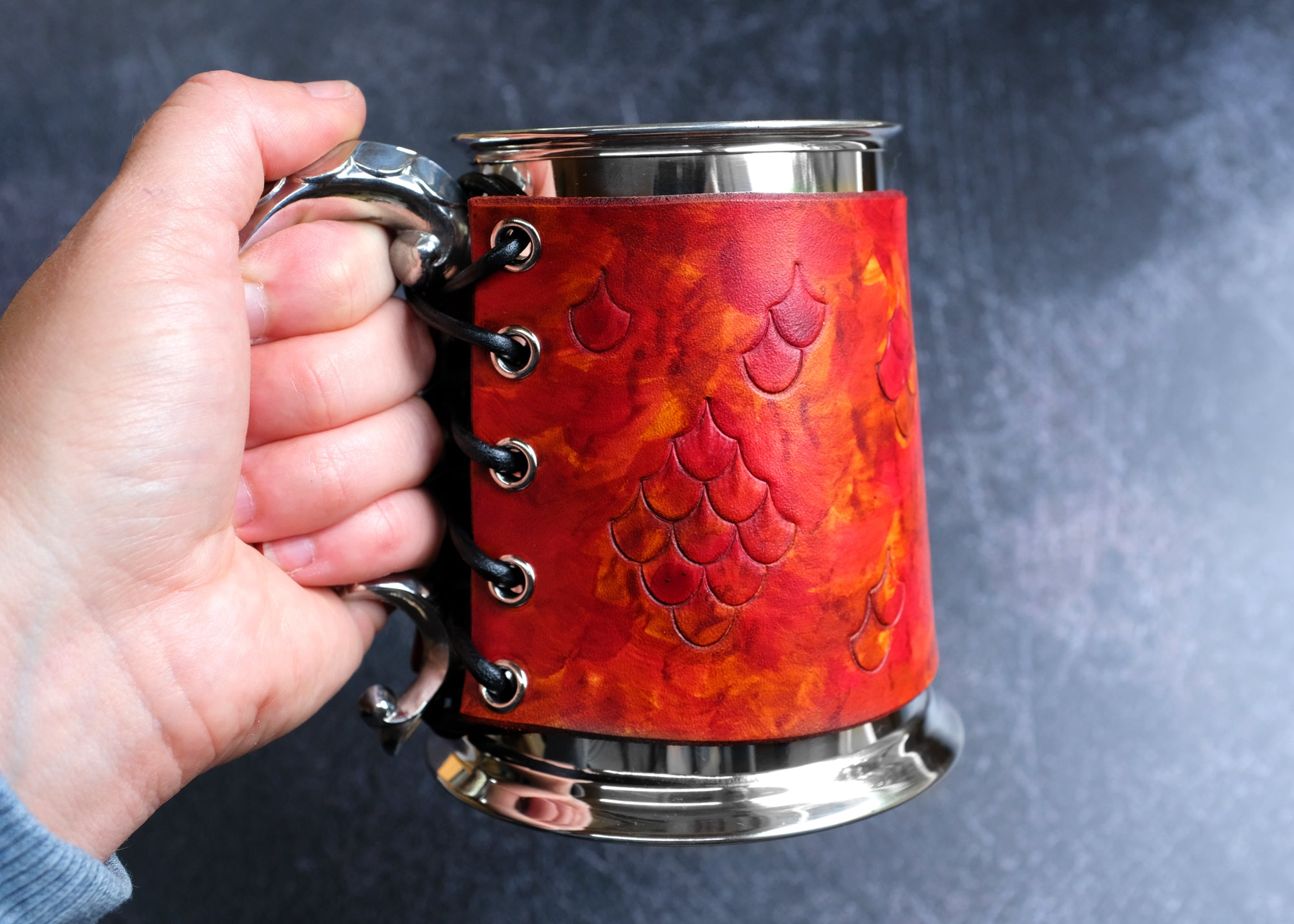 Pewter Tankard with Dragon Scale Leather Wrap - Red & Tan