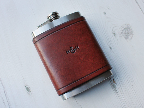 Leather Flask 8oz - Brown - Hide & Home - 3