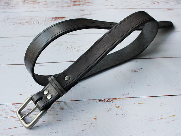 Leather Belt Unisex - Grey - Hide & Home - 4