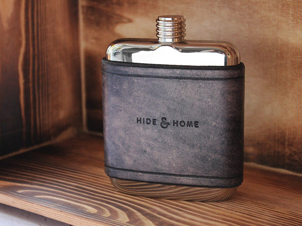 Leather Flask 6oz - Slate Grey - Hide & Home - 1