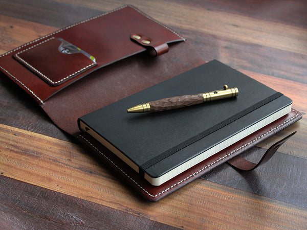 A5 Leather Notebook Cover - Brown - Hide & Home - 3
