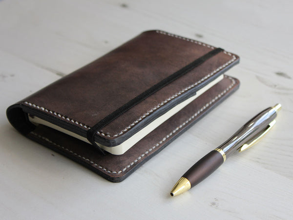 Leather Notebook Cover A6 - Slate Grey - Hide & Home - 1