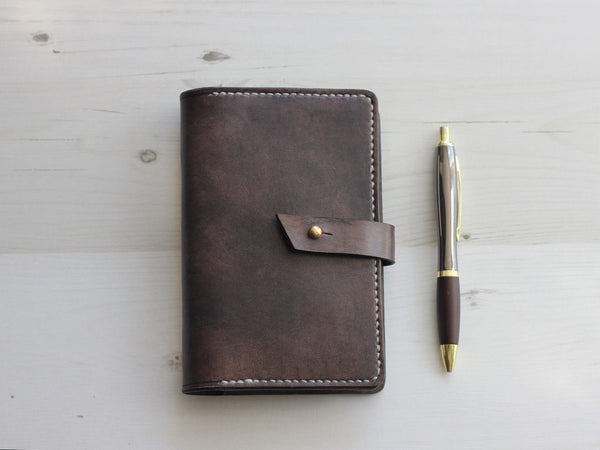 Leather Notebook Cover with Closure A6 - Slate Grey - Hide & Home - 1