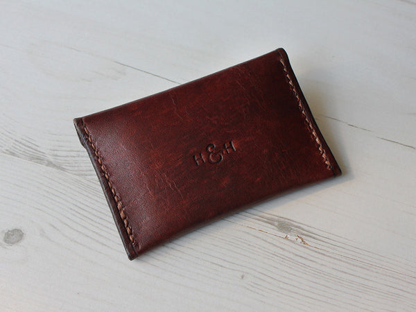 Slim Leather Button Wallet - Brown - Hide & Home - 5
