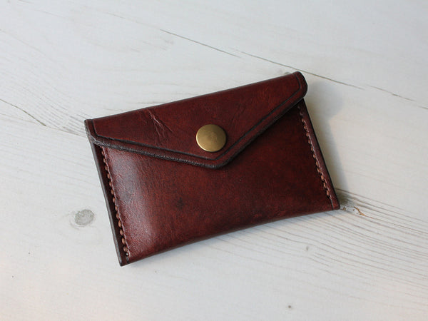 Slim Leather Button Wallet - Brown - Hide & Home - 3