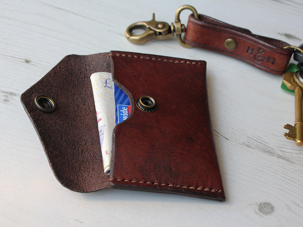 Slim Leather Button Wallet - Hide & Home - 1