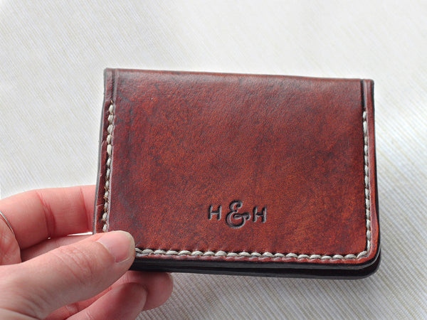 Slim Folding Leather Card Wallet - Hide & Home - 3