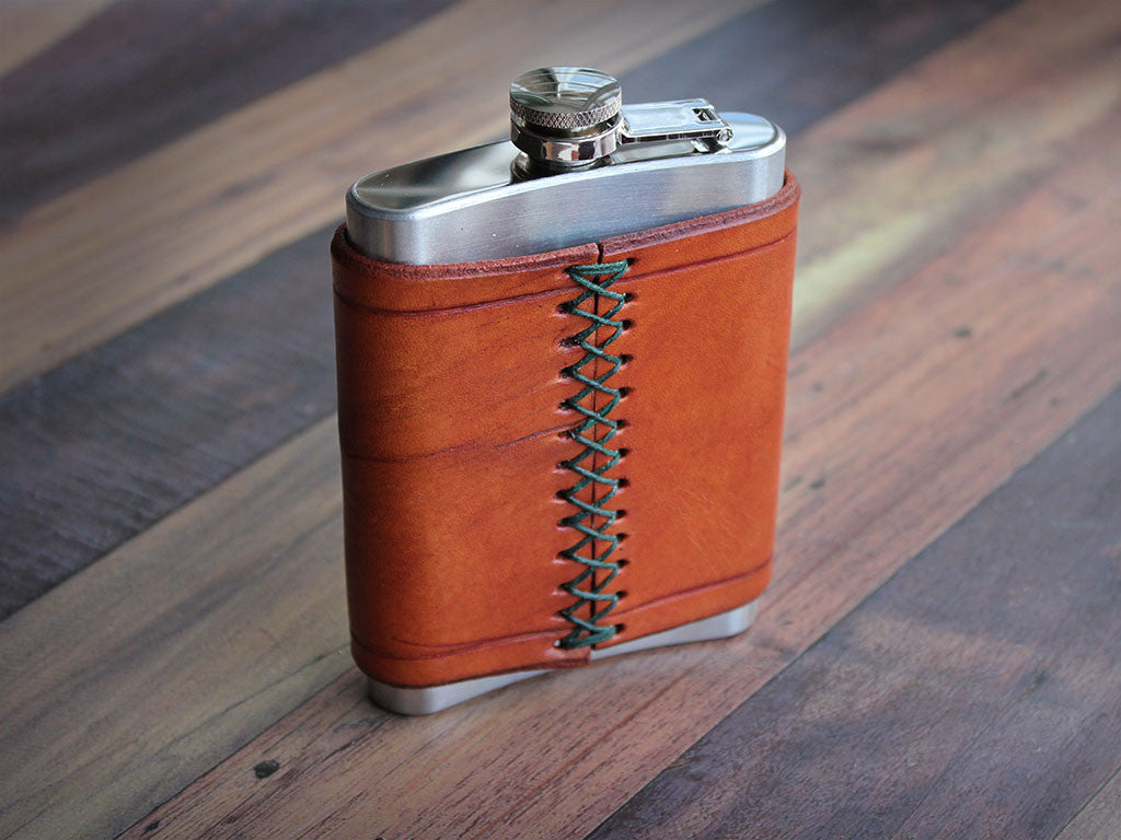 Leather Flask 8oz - Tan - Hide & Home - 1
