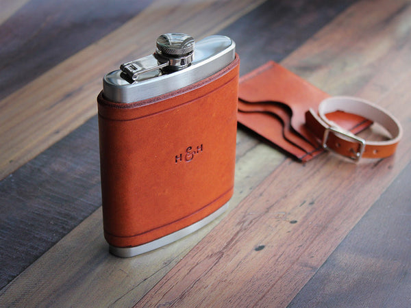 Leather Flask 8oz - Tan - Hide & Home - 4