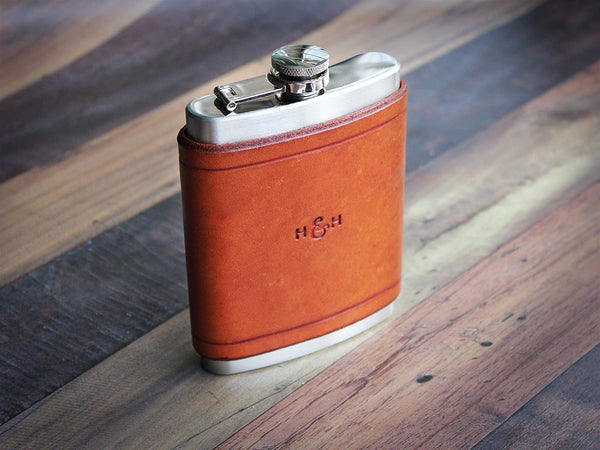 Leather Flask 8oz - Tan - Hide & Home - 2