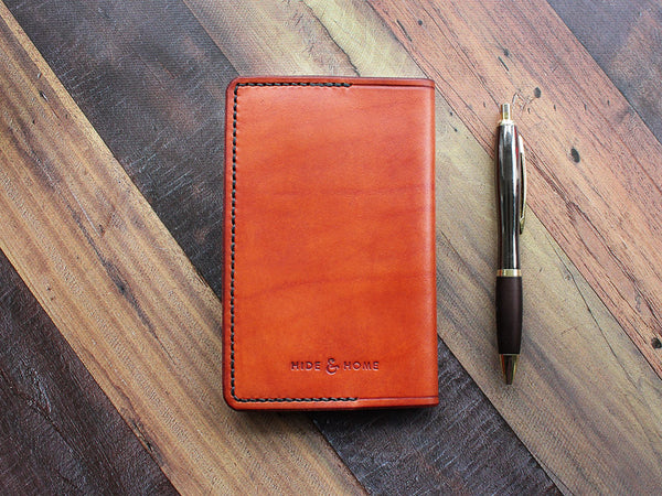 Leather Notebook Cover Pocket - Tan - Hide & Home - 1
