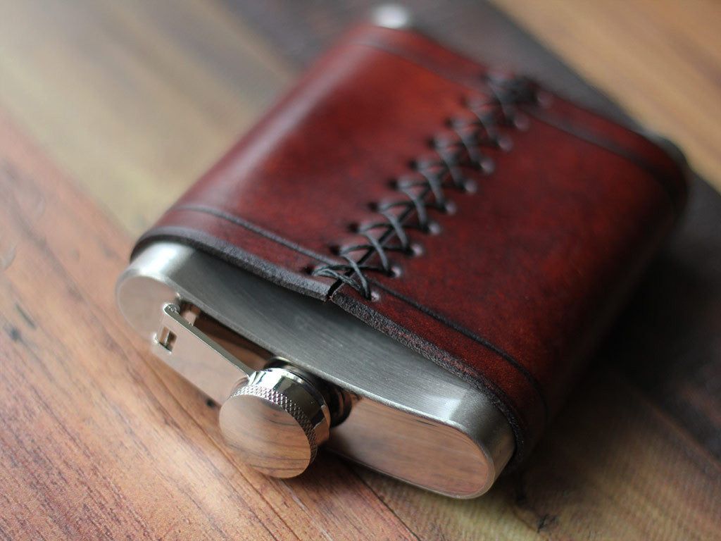 Leather Flask 8oz - Brown - Hide & Home - 5