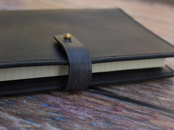 A5 Leather Notebook Cover - Grey - Hide & Home - 5