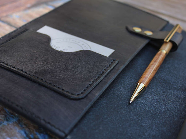 A5 Leather Notebook Cover - Grey - Hide & Home - 3