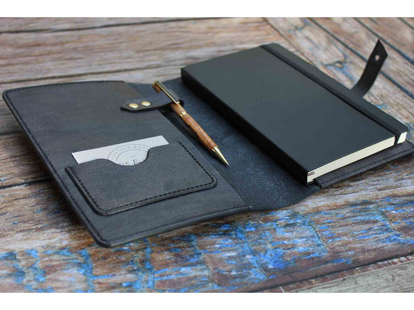 A5 Leather Notebook Cover - Grey - Hide & Home - 1