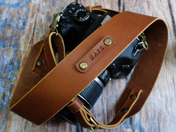 Personalised Italian Leather Camera Strap - Natural