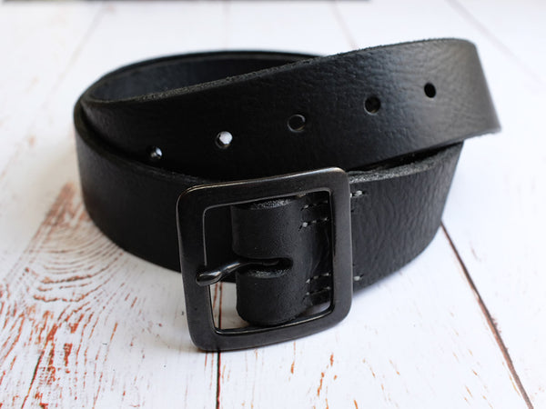 Leather Belt 40mm with Matte Black Buckle - Black