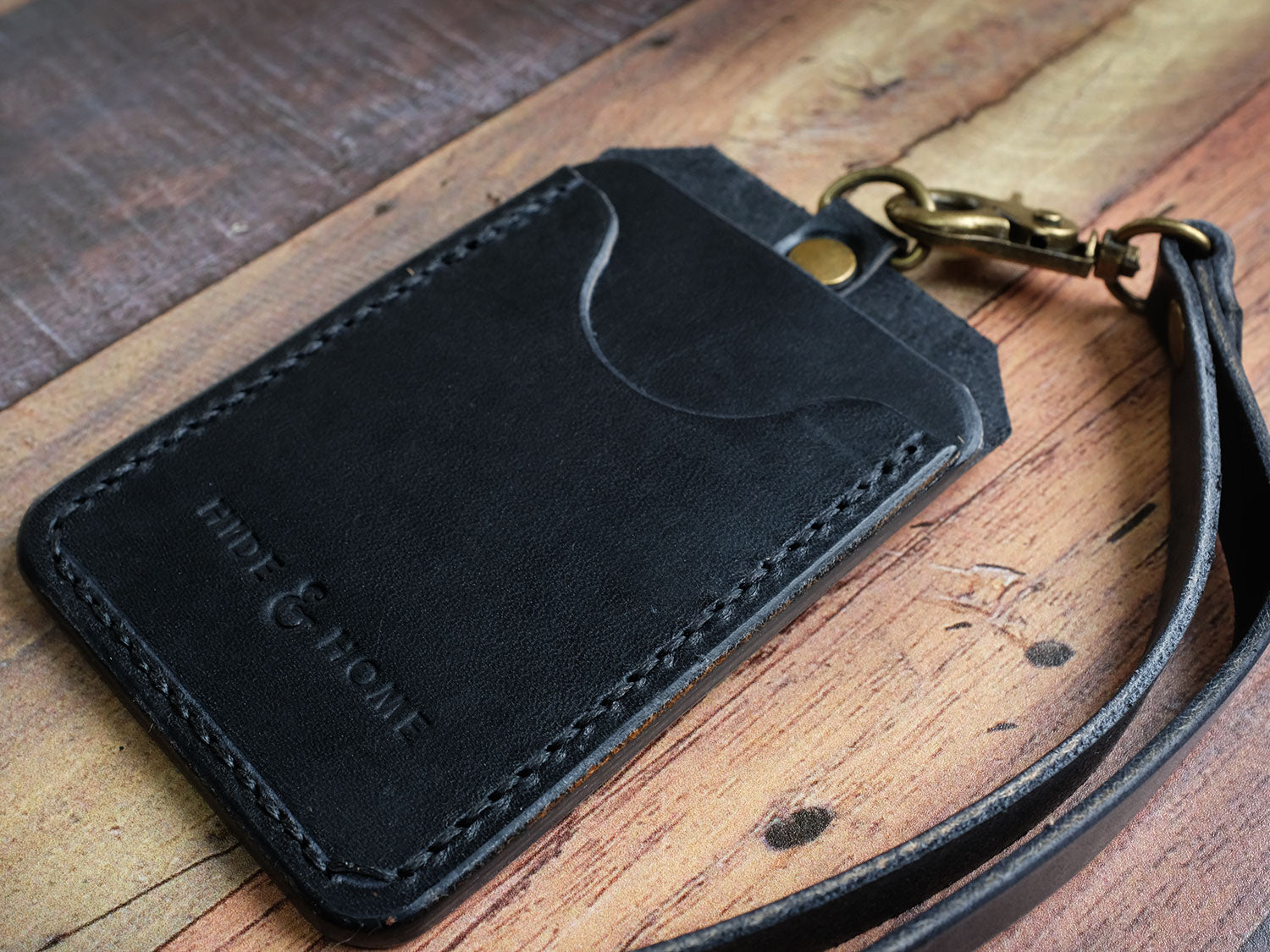 Italian Leather ID Holder with Lanyard - Black