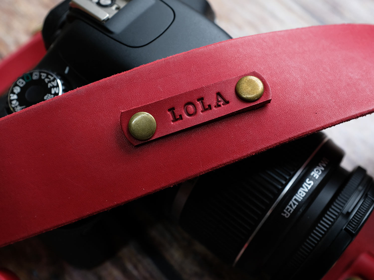 Personalised Italian Leather Camera Strap - Red