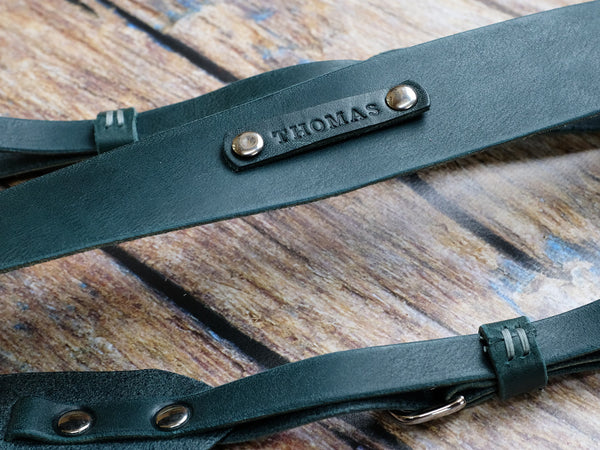 Personalised Italian Leather Camera Strap - Ocean