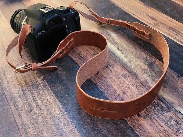 Leather Camera Strap in Horween Dublin - Hide & Home - 2