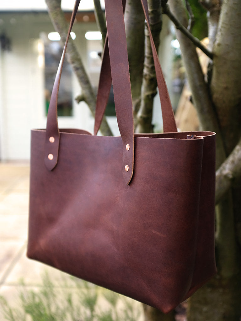 Handmade Leather Tote Handbag Large - Brown