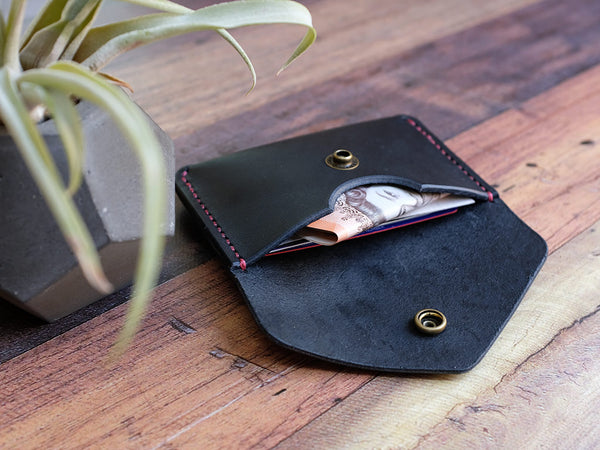 Italian Leather Button Wallet - Black