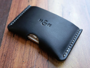 Italian Leather Card Holder - Black