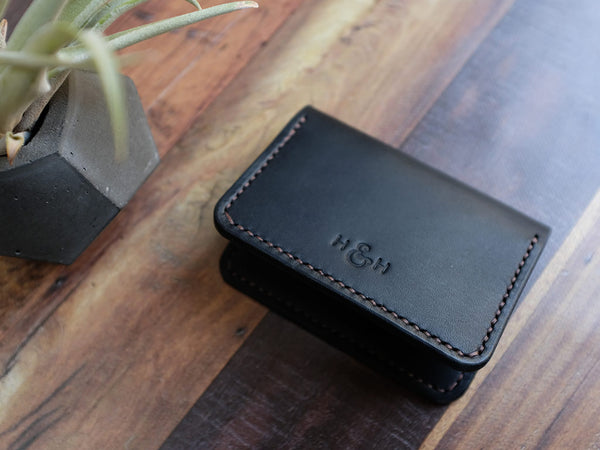 Italian Leather Folding Card Wallet - Black