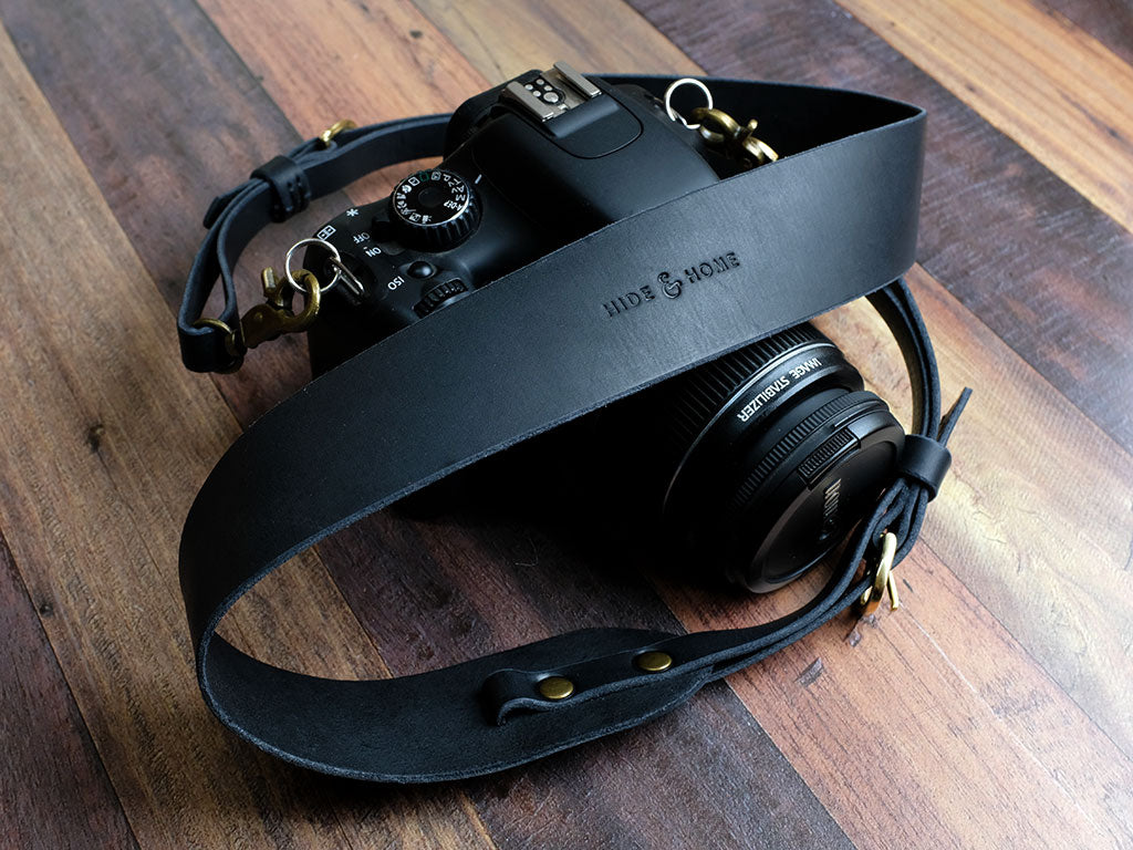 Personalised Italian Leather Camera Strap - Black