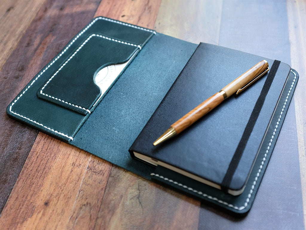 Italian Leather Notebook Cover A6 - Blue