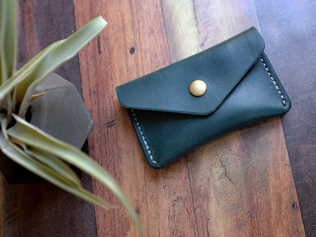 Italian Leather Button Wallet - Blue