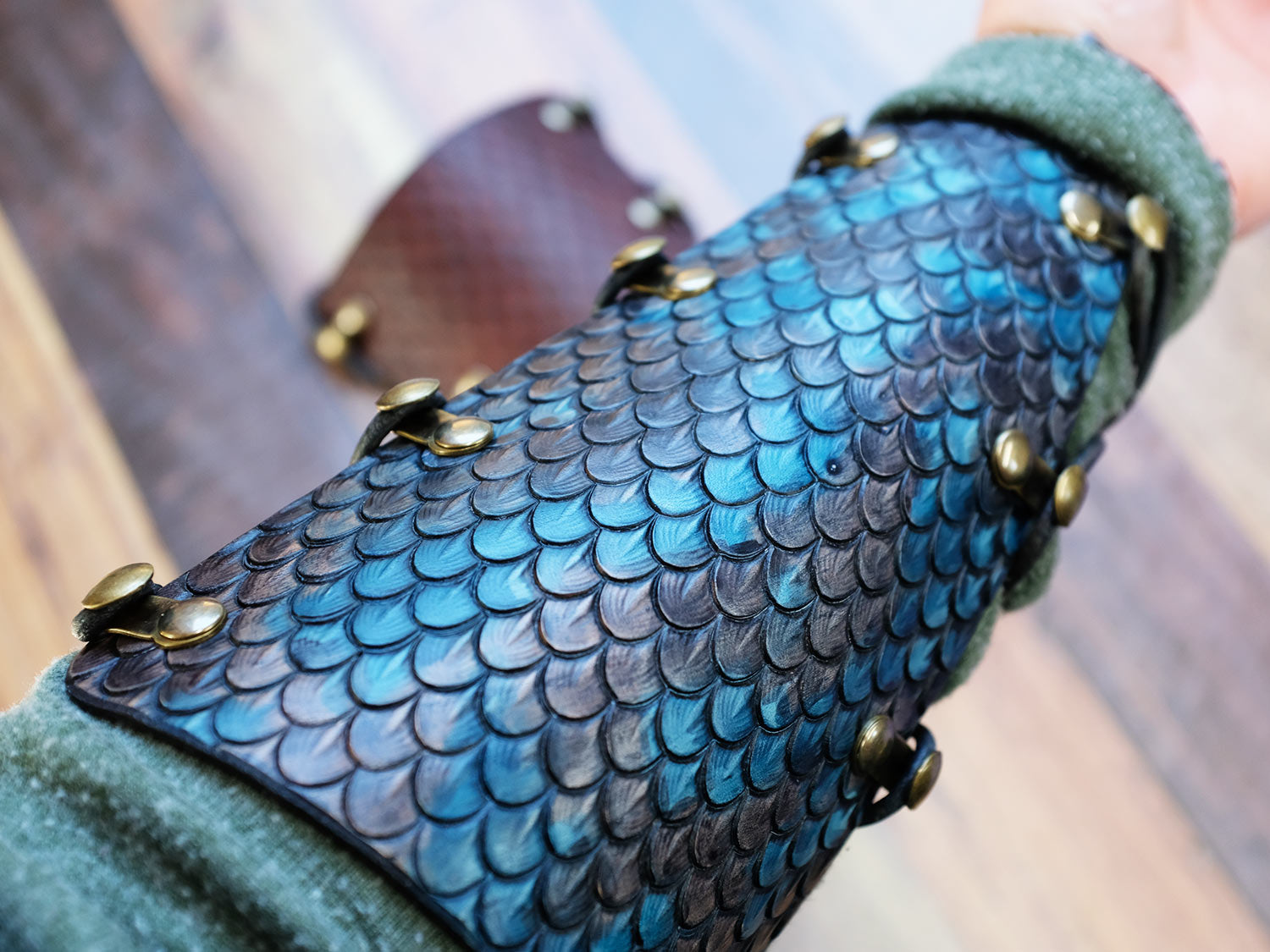 Hand Dyed Leather Dragon Scale Bracer