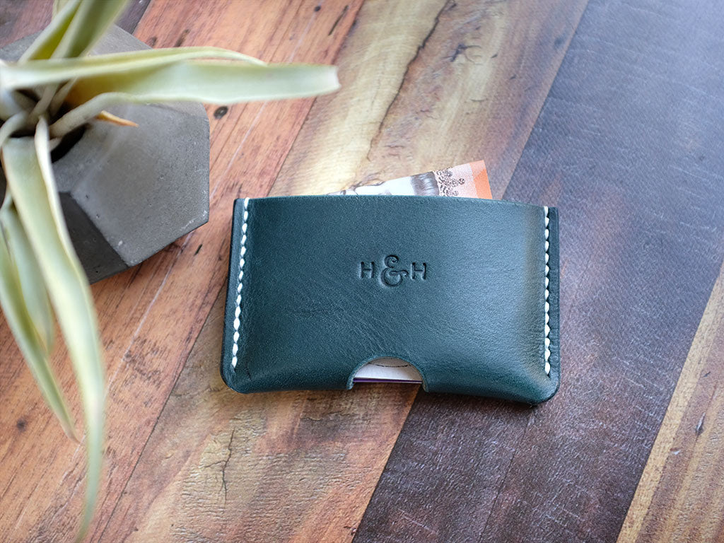 Italian Leather Card Holder - Blue