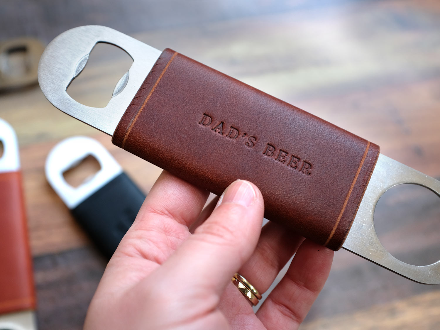 Bottle Opener With Personalised Leather Jacket