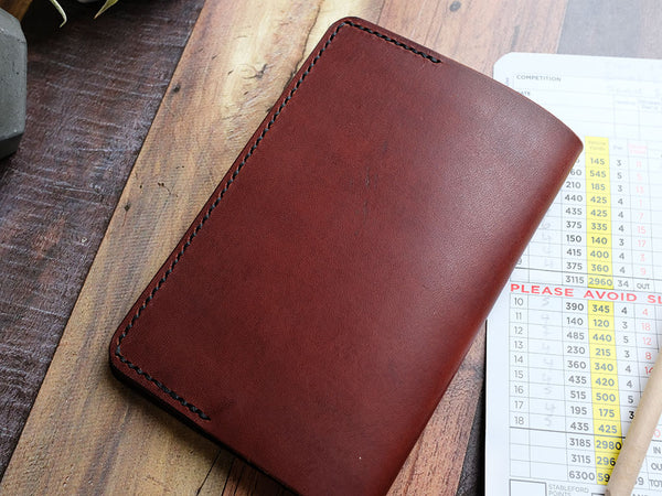 Italian Leather Golf Scorecard Holder - Brown
