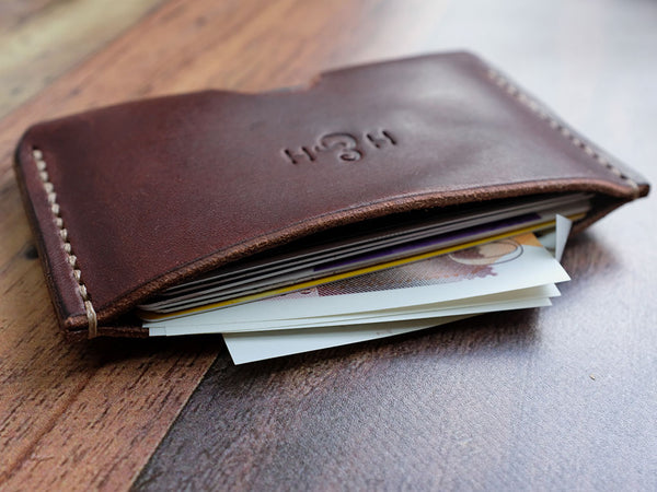 Italian Leather Card Holder - Brown