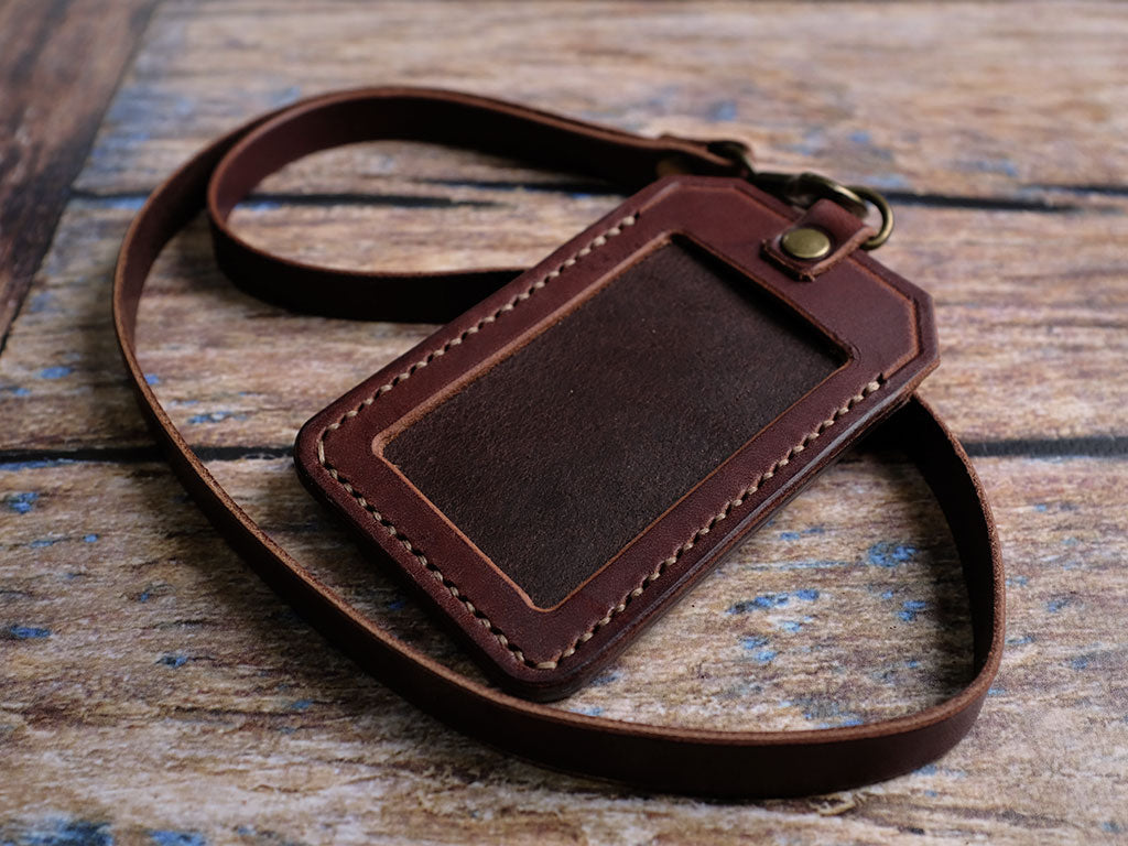 Italian Leather ID Holder with Lanyard - Brown