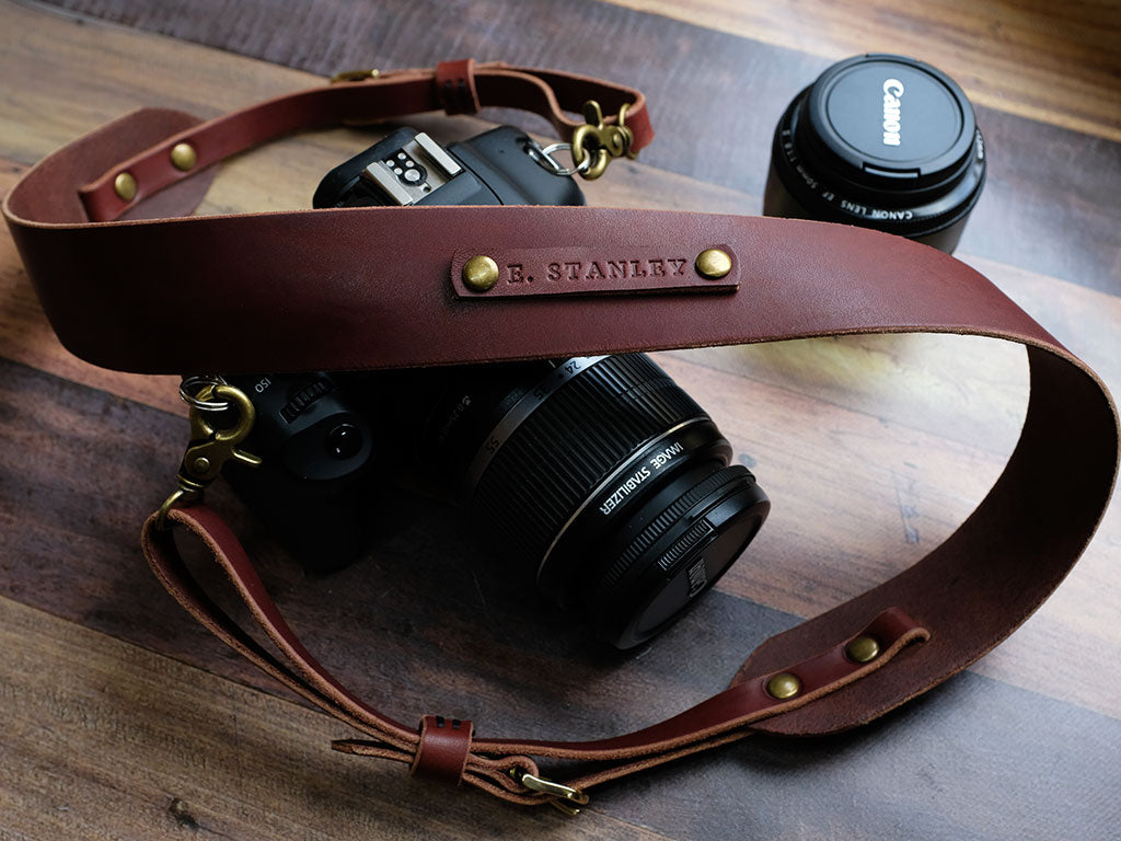 Personalised Italian Leather Camera Strap - Brown