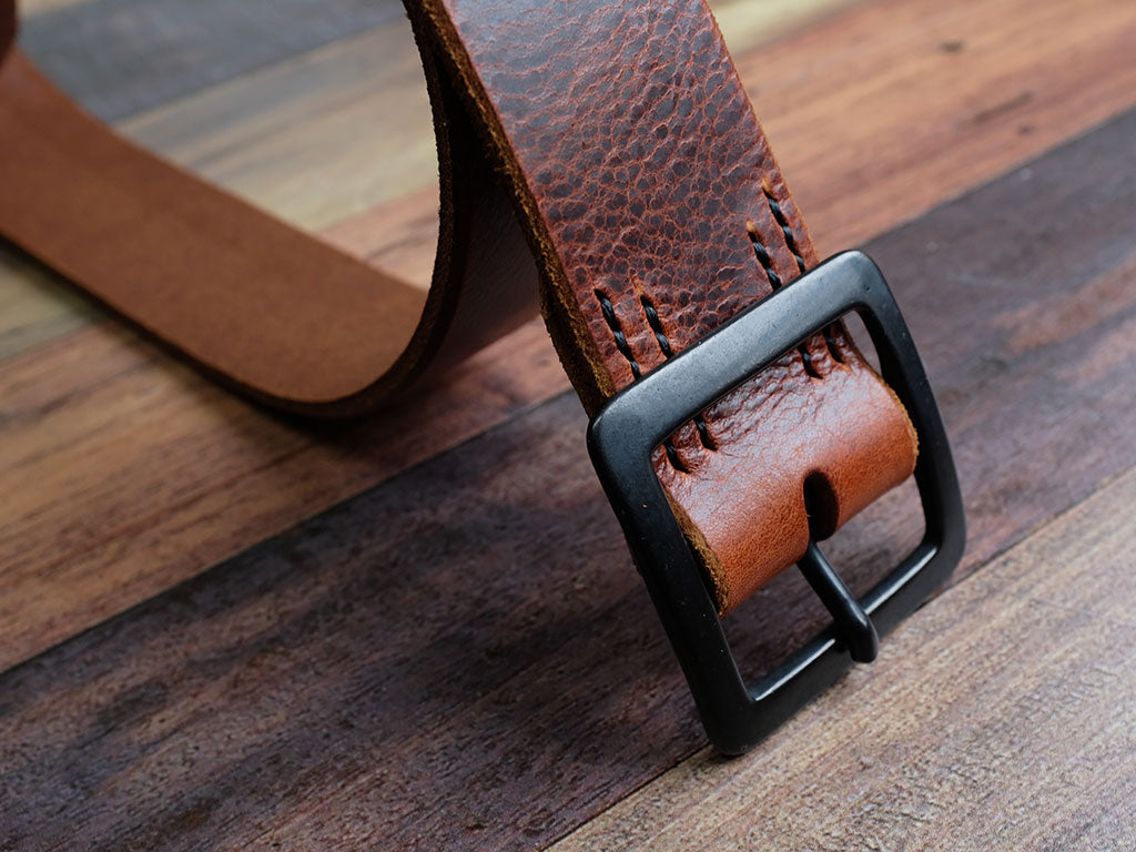 Leather Belt 40mm with Matte Black Buckle