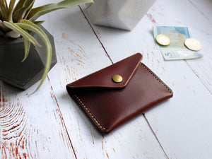 Italian Leather Button Wallet - Brown