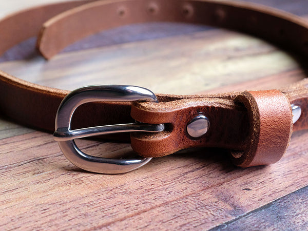 Skinny Leather Belt 20mm with Steel Buckle