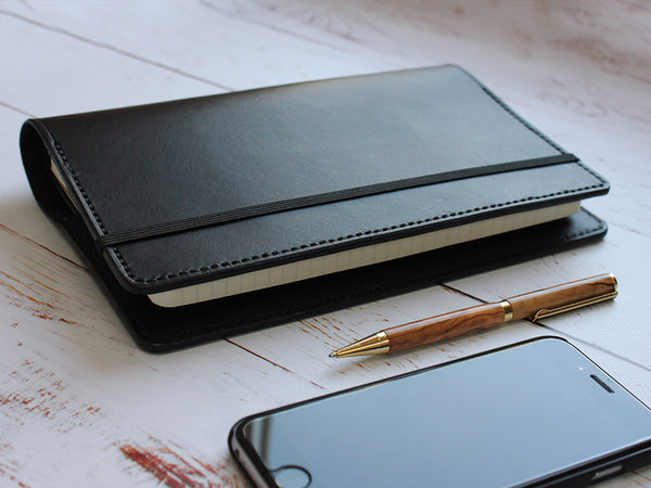 A5 Leather Notebook Cover Minimal - Black