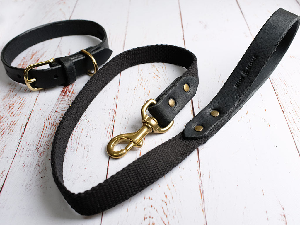 Leather Dog Collar & Lead Set - Black